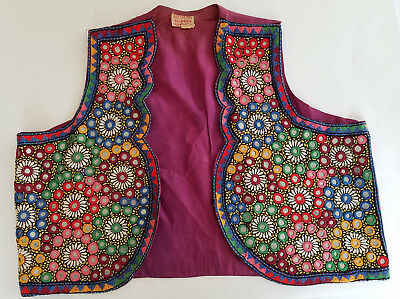 Vintage Embroidered Vest Mirrored Tribal Boho Hippie Ethnic Pakistan Size 38 Med