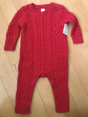 NWT Baby Gap Boy Or Girl Knit Sweater One Piece Holiday Red Size 6-12 Months