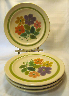 Franciscan USA Earthenware FLORAL Four (4) Dinner Plates Green Orange Yellow
