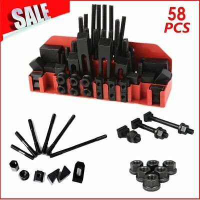 """58pc 1/2"""" Slot 3/8""""-16 Stud HOLD DOWN CLAMP CLAMPING SET KIT BRIDGEPORT MILL TO"""