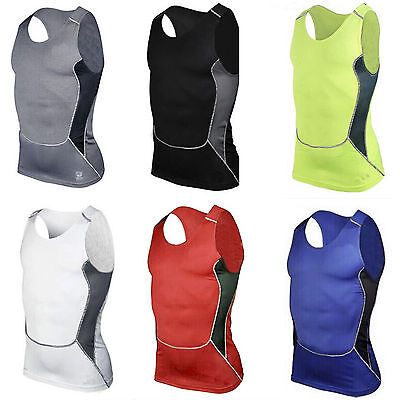 Mens Under Skin Armour Sleeveless Compression Slim Fit Tight Sports Tops Vest