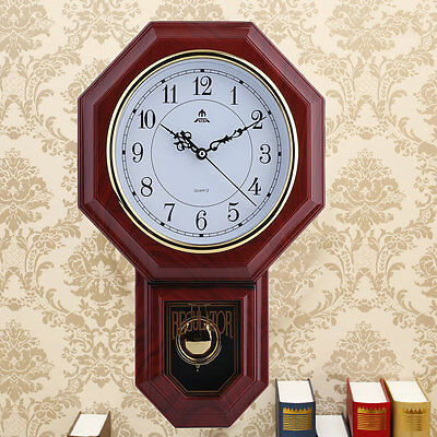 Antique Vintage Retro Style Round Faux Wood Wall Clock with Pendulum NEW HP