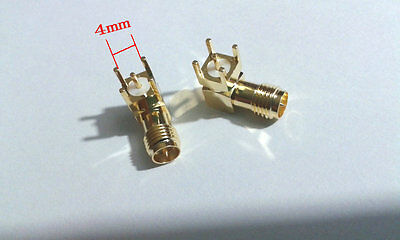 4 pcs RP-SMA female plug center right angle solder PCB mount RF connector