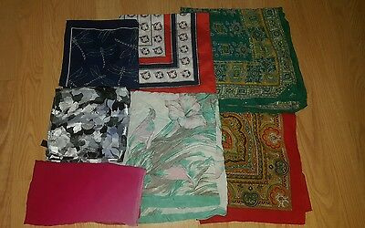 Nice Lot of 7 Various Square Scarfs.