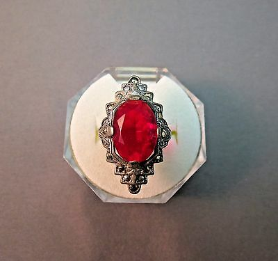 Antique Base Metal Ring Oval Cut Glass Red Rhinestone Marasite Stone Silver Tone