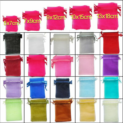 5Sizes Organza Wedding Party Xmas Jewelry Favour Gift Bags Pouch Decor 25/100pcs