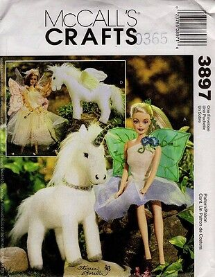 """2002 Oop Mccall's 3897 Pattern 11 1/2"""" Doll Flower Fairy Clothes Unicorn Pegasus"""
