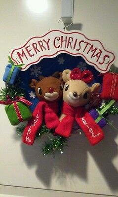 """Rudolph the Red-Nosed Reindeer 13"""" Rudolph And Clarice Holiday Christmas Wreath"""