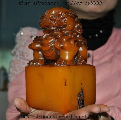 """6""""Chinese shoushan stone hand carved foo dog lion beast statue seal stamp signet"""