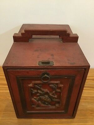 "Early 1700's Qing Dynasty Painted Red Chinese Bridal Cabinet 12"" High No Damage"