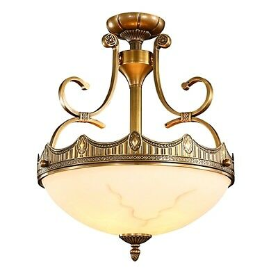Rustic/Lodge Vintage Flush Mount Brass Ceiling Light Chandelier Glass Lamp Light