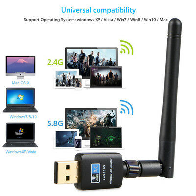 Mini 600Mbps USB Wifi Dongle Dual Band 2.4/5.8GHz Wireless Adaptateur Antenna AC