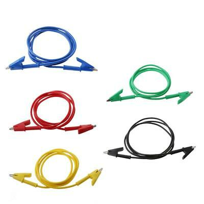 """Magideal 5x 39"""" Insulated Test Lead Cable Wire Double Ended Alligator Clips"""