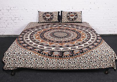 Indian Hand Block Elephant Printed 2Pc Pillow Case Bed Spread  Flat BedSheet