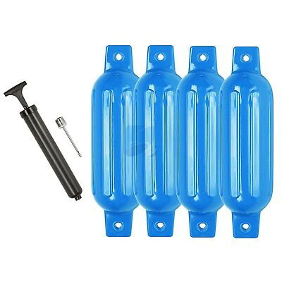 165 X 580mm Ribbed Inflatable Boat Fender 4PCS Marine Bumper Dock Buffers Blue
