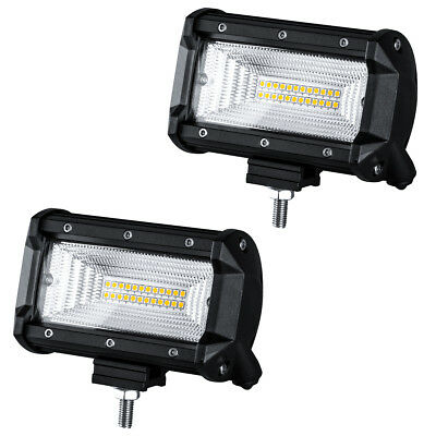 2Pcs 5inch 120W LED Pod Work Light Bar Flood Beam 6000K Driving Offroad SUV UTV