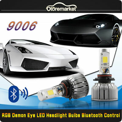 2x9006 HB4 CREE COB LED Headlight Bulb Kit Low Beam RGB Demon Eyes Light APP