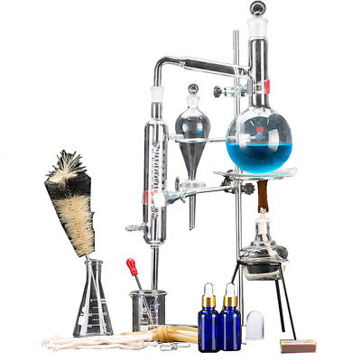 500ml New Lab Essential Oil Distillation Apparatus Water Pure Glassware Kits