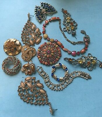 Lot of Gold Vintage Rhinestone Pins Earrings Broochs destash Beaded Salvage