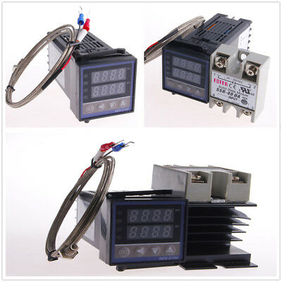 PID REX-C100 Temperature Controller set + SSR 40DA & K Thermocouple & Heat Sink