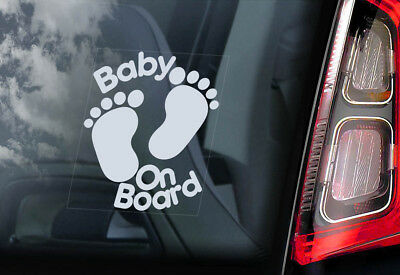 Baby on Board -Car Window Sticker- Footprints Cartoon Decal - PERSONALISE! - V05