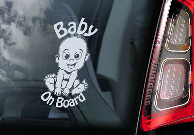 Baby on Board - Car Window Sticker - Cartoon Decal Gift Idea- PERSONALISE! - V06
