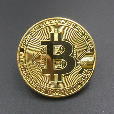Gold Bitcoin Commemorative Round Collectors Coin Bit Coin Iron Gold Plated Coins