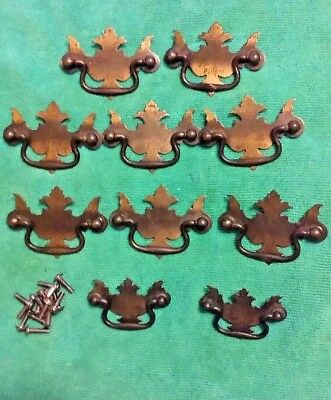 Lot of 10-Vintage Metal Chippendale Batwing  Drawer Drop Handle Bail Pulls~