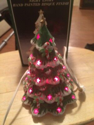 Vintage Porcelain Christmas Tree Night Light Hand Painted Bisque Finish