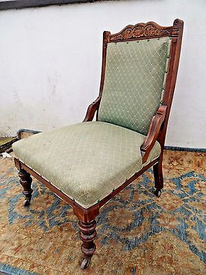 Antique Edwardian French Shabby Chic Ladies Fireside Hall Side NURSING Chair