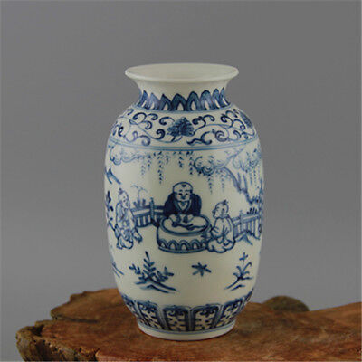 Nice Chinese Ming Dynasty Cheng Hua Blue&White Porcelain Figure Wax Gourd Vase