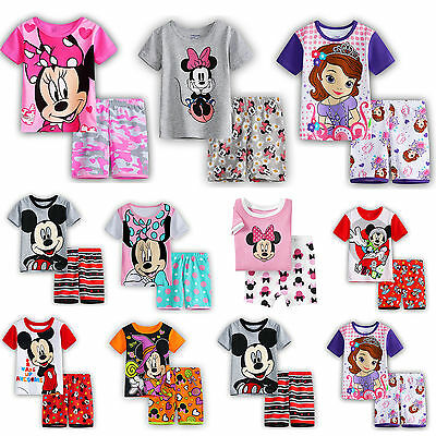 Kids Boys Girls Minnie Mickey Mouse Outfits Pajamas Set T-Shirt Top+Shorts Pants