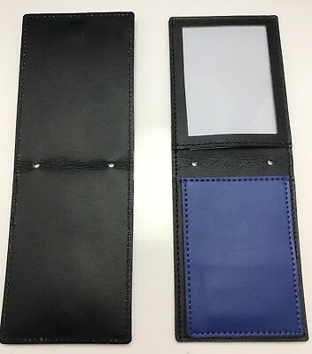 Leather Badge & ID Holder, Belt, Neck & Pocket, Police / Security, Blue Flap