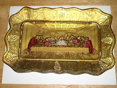 Vintage Goofus Glass Rectangular Plate with the Last Supper Gold, Red & White