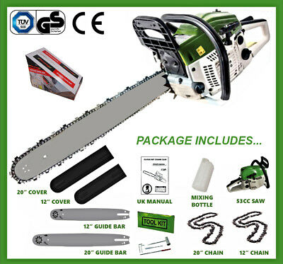 "20"" & 12"" Petrol Chainsaw With 2 x Bars, 2 x Chains, Bar Covers & Tool Kit 53cc"