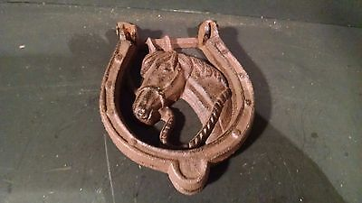 Cast Iron Antique Style Rustic HORSE HEAD Door Knocker Western HORSESHOE