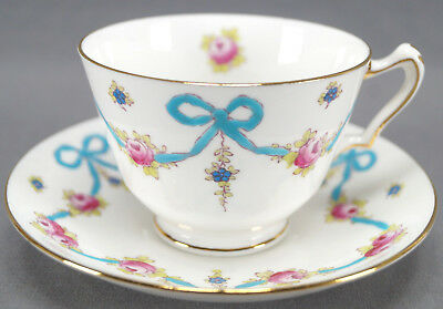 Crown Staffordshire Blue Bows F4547 Hand Colored Bows & Roses Tea Cup & Saucer