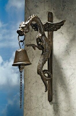 Cast Iron Gothic Dragon Doorbell Decorative Home Wall Mounted Sculpture Bell New