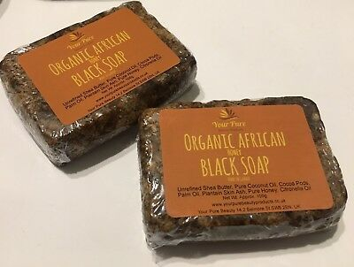 Organic African Black Honey Soap X 2 -100g Bars (Made in Ghana)