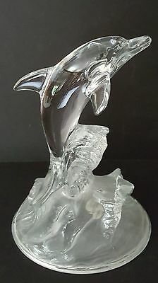 "Cristal d'Arques Dolphin - 24% Lead Crystal Sculpture - France - 6"" x 4 1/2"""