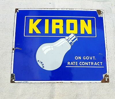 1950's VINTAGE KIRON BULB- ON GOVT. RATE CONTRACT PORCELAIN ENAMEL SIGN BOARD