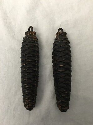 """Pair of 5"""" VINTAGE Pine Cone CHUCKOO Clock Weights 522 grams for 2"""