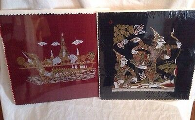 "Painted Asian/Thai Fabric Painting (Lot of 2 Blocks) Warriors 12"" Oriental Art"