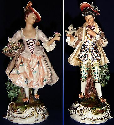 Dresden Quality Figurine Pair Hand Painted