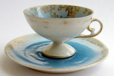 Continental Antique Dresden Hand Painted Cabinet Miniature Cup Saucer Beautiful