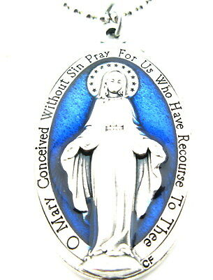 "Large 1 1/2"" Miraculous Medal Pendant Royal Blue Necklace,Silver Plated,Italy"