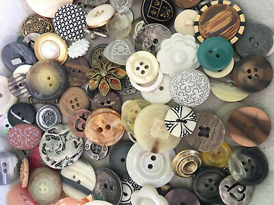 BEAUTIFUL! 100 pcs MIXED LOT of OLD-VINTAGE & NEW Buttons ALL TYPES & SIZES