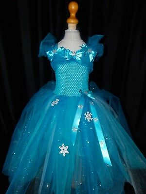 NEW! Girls Frozen Elsa (Inspired) Handmade dress with Sparkle net ages 1 - 19