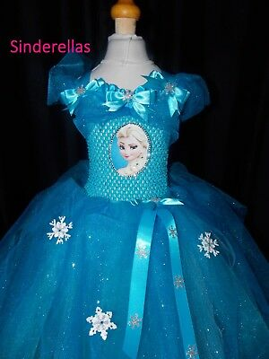 NEW! Girls Frozen Elsa (Inspired) Handmade dress with Sparkle net ages 1 - 9