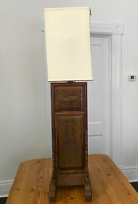 Antique Chinese Huanghuali & Red Lacquer Floor Lamp W/ Carved Palace Scene